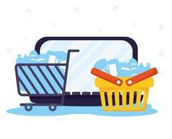 compras en línea y comercio electrónico a través de una computadora portátil