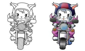Rider cat and motorcycle cartoon coloring page for kids vector
