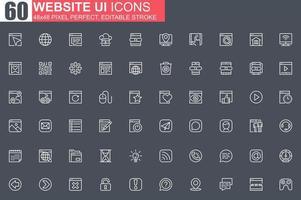 Website UI thin line icon set vector