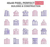 edificio y construcción conjunto de iconos de línea delgada