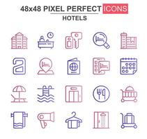 Hotels thin line icon set vector