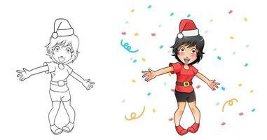 niña, feliz año nuevo, evento, caricatura, colorido, página vector