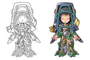 Página para colorear de dibujos animados de hombre robot para niños