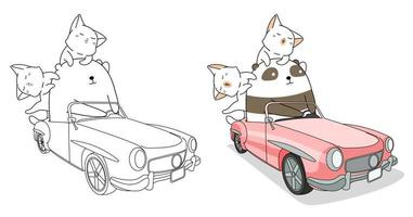 Panda and cats driving car cartoon coloring page