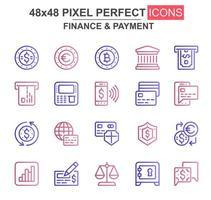 conjunto de iconos de línea delgada de finanzas y pagos vector