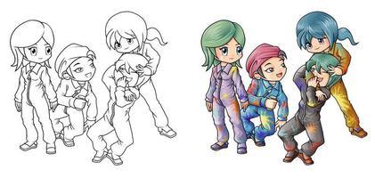 Pintores página para colorear de dibujos animados para niños vector