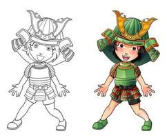 Cute samurai cartoon coloring page for kids