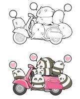 Pandas and motorcycle cartoon coloring page vector