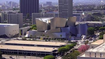 Aerial View of the Disney Concert Hall in Downtown Los Angeles 4K
