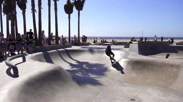 Several Skateboarders Attempting Big Tricks at Venice Beach 4K