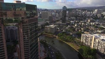 Downtown Honolulu from the Side of a Building 4K video