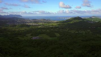 Honolulu as seen from the Pali Mountains 4K