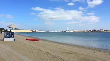 burj al arab, khalifa visto de palm beach dubai 4k