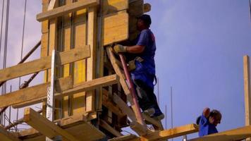 close up de um trabalhador da construção civil 4k video stock