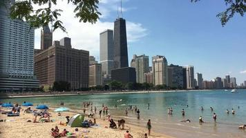 Great Lakes Beach in Downtown Chicago 4K video