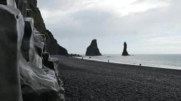 Iceland Black Sand Beach with Black Rocks 4K HD