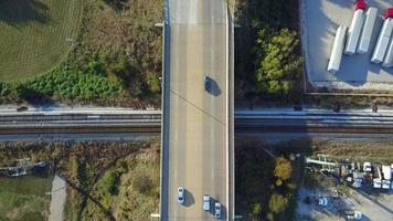 Aerial of an overpass with cars driving