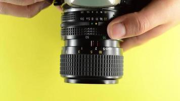 foco da lente da câmera.
