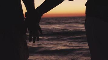 Couple holds hands on beach at sunset video