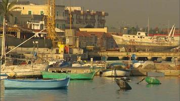 barcos atracados en el puerto con boyas