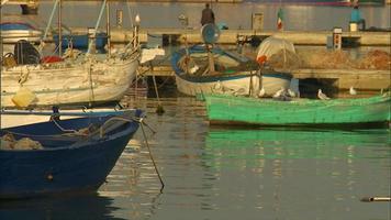 pescador y barcos en el puerto