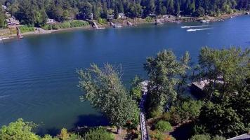 Aerial footage of Jet Skiers on Lake Oswego