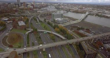 Aerial Video Over Highway Outside of Downtown Portland