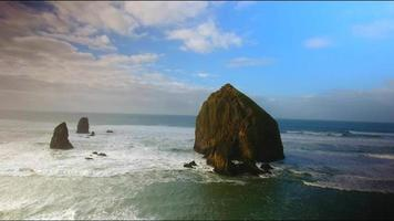Drone Footage Over Cannon Beach with Haystack Rock