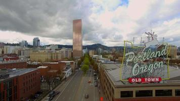 Drone Footage Over the Middle of Downtown Portland  video
