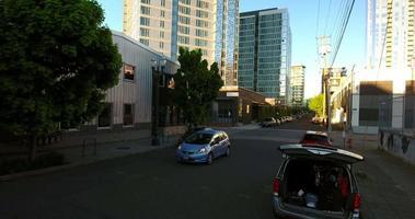 drone filmagens sobre arranha-céus de Portland video