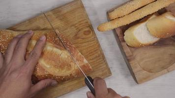 cutting bread top view