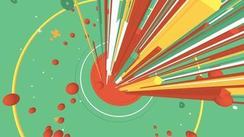 raios coloridos disparando pela tela video