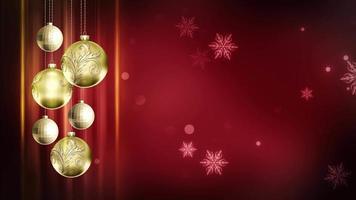 Adornos rojos y dorados 4k bucle de fondo de movimiento navideño