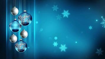 Adornos azules 4k lazo de fondo de movimiento navideño