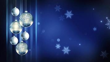 weiße & blaue Verzierungen 4k Weihnachtsbewegungshintergrundschleife