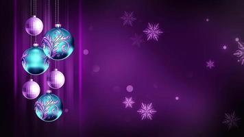 ornamenti blu e viola intenso 4k ciclo di sfondo movimento di Natale video