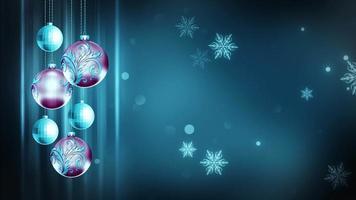Adornos azul claro y magenta 4k bucle de fondo de movimiento navideño