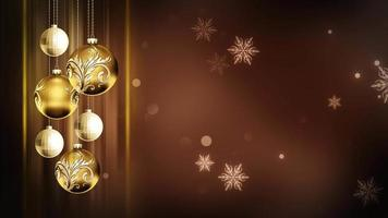 Adornos marrones dorados 4k lazo de fondo de movimiento navideño