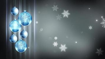 hellblaue & graue Ornamente 4k Weihnachtsbewegung Hintergrundschleife