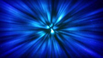 Blue flare with many lights moving viewed from deep underwater