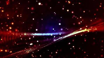 particelle rosse e luci punteggiate che formano una maglia su sfondo scuro
