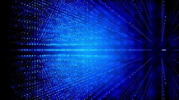 griglia cubica tridimensionale formata con punti luminosi che ruotano su sfondo blu scuro