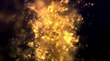 particelle morbide dorate che fluttuano come una nuvola al centro della scena