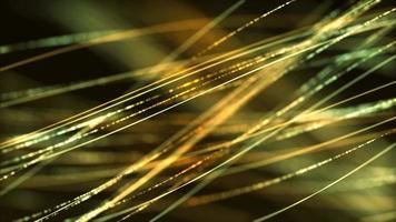 linhas finas verdes flutuando no ar como cabelo em fundo escuro video