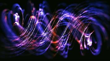 Gold und lila dünne Linien schweben in der Luft wie Haare auf dunklem Hintergrund video