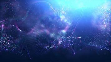 maglia incandescente ondulata formata con punti luminosi su sfondo blu video