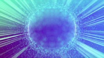 kleine Teilchen, die eine Kugel mit Laserstrahlen und Fackelhintergrund umkreisen video