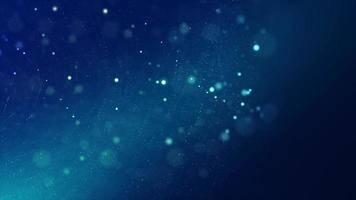 Blue particles of different sizes floating on dark blue background