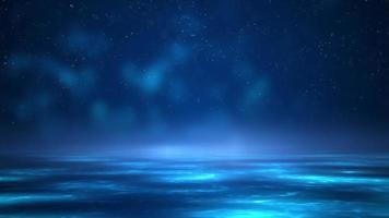 Scene of quiet sea in starly night and some glowing elements in water