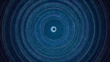 anillos punteados con diferentes tamaños y partículas blancas sobre fondo oscuro 4k video